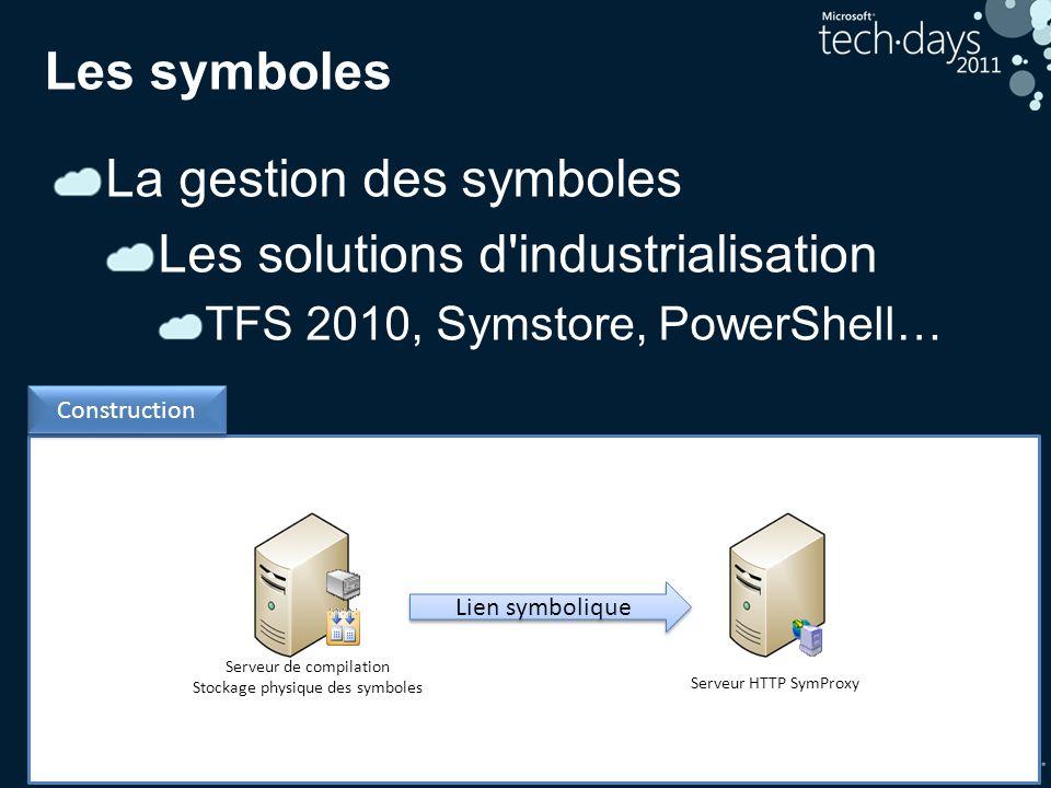 31 Construction Les symboles La gestion des symboles Les solutions d'industrialisation TFS 2010, Symstore, PowerShell… Serveur de compilation Stockage