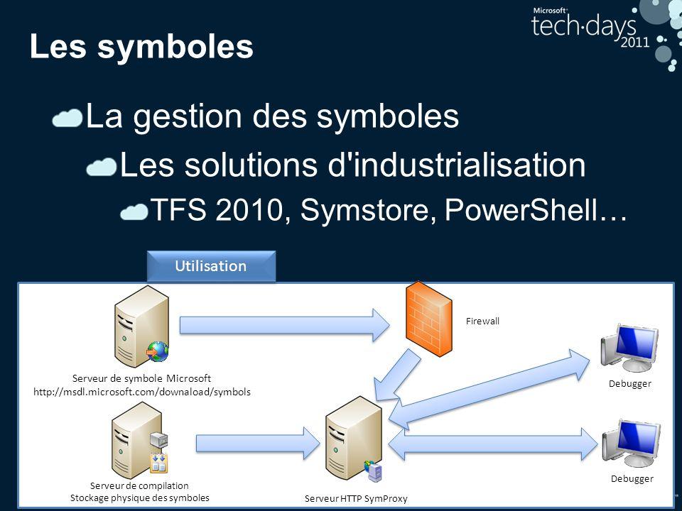 32 Les symboles La gestion des symboles Les solutions d'industrialisation TFS 2010, Symstore, PowerShell… Debugger Utilisation Debugger Serveur HTTP S