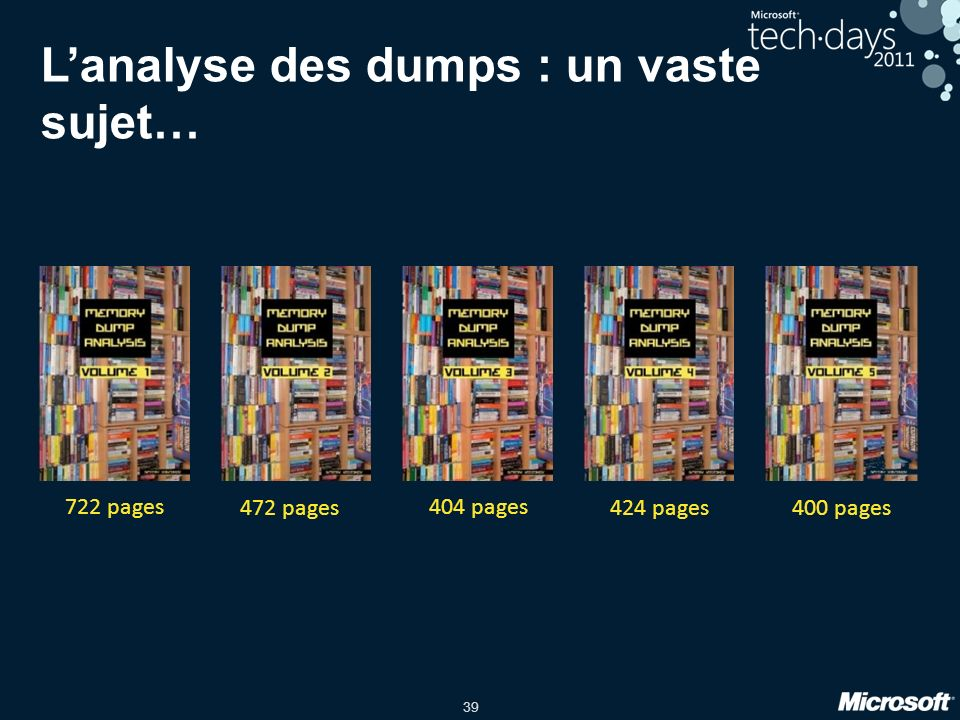 39 Lanalyse des dumps : un vaste sujet… 722 pages 472 pages 404 pages 424 pages400 pages