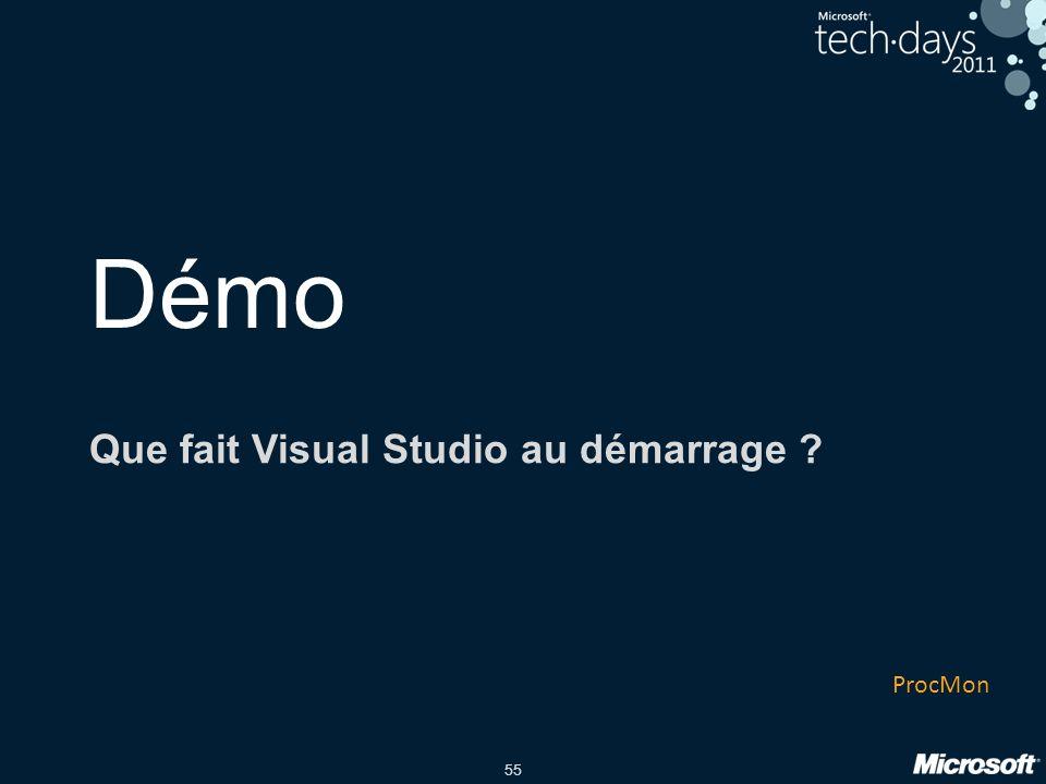 55 Démo Que fait Visual Studio au démarrage ? ProcMon