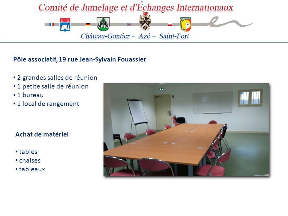 Pôle associatif, 19 rue Jean-Sylvain Fouassier 2 grandes salles de réunion 1 petite salle de réunion 1 bureau 1 local de rangement Achat de matériel t