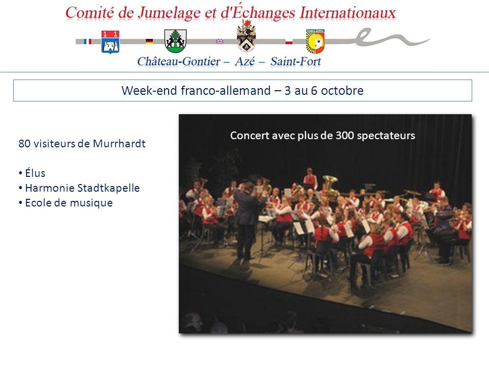 Week-end franco-allemand – 3 au 6 octobre 80 visiteurs de Murrhardt Élus Harmonie Stadtkapelle Ecole de musique Concert avec plus de 300 spectateurs