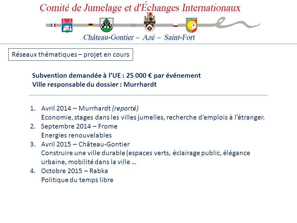Réseaux thématiques – projet en cours 1.Avril 2014 – Murrhardt (reporté) Economie, stages dans les villes jumelles, recherche demplois à létranger. 2.