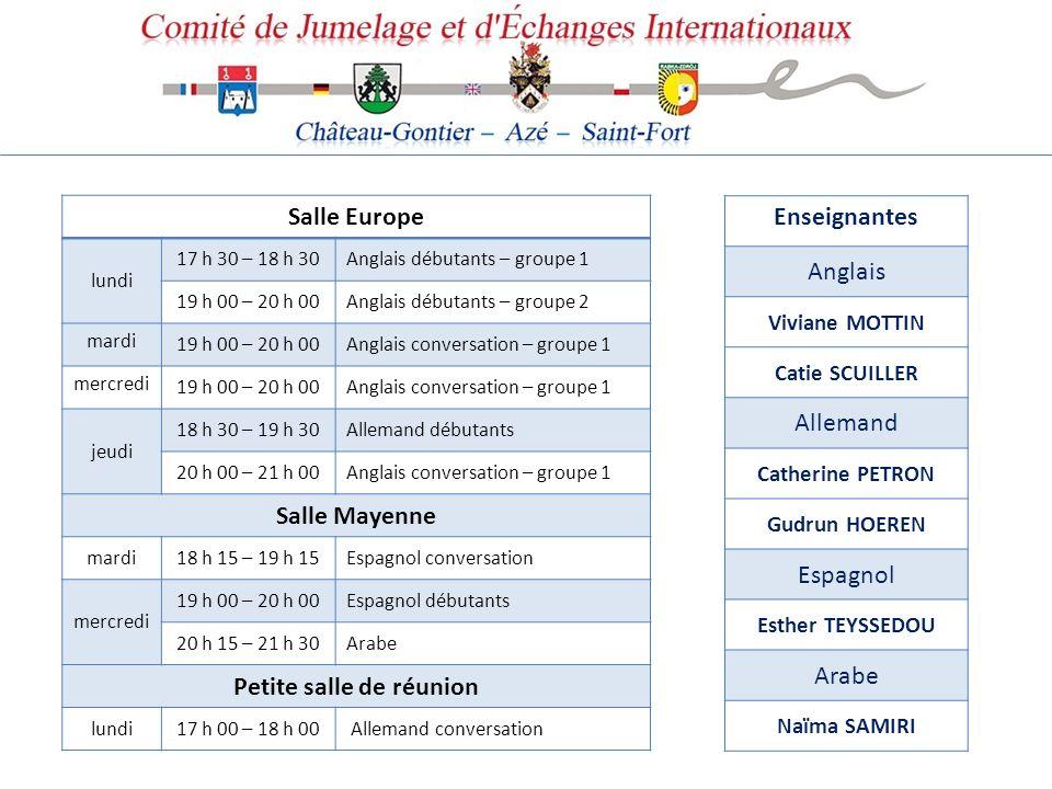 Salle Europe lundi 17 h 30 – 18 h 30Anglais débutants – groupe 1 19 h 00 – 20 h 00Anglais débutants – groupe 2 mardi 19 h 00 – 20 h 00Anglais conversa