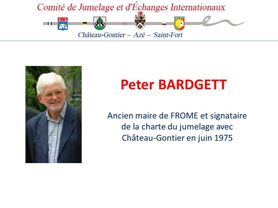 Peter BARDGETT Ancien maire de FROME et signataire de la charte du jumelage avec Château-Gontier en juin 1975