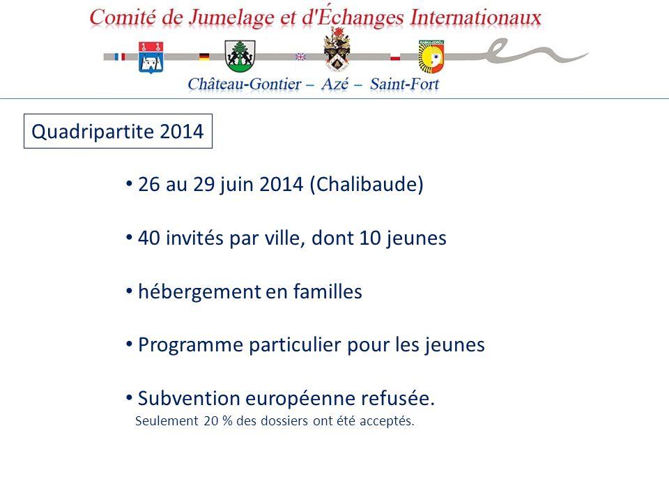 Quadripartite 2014 26 au 29 juin 2014 (Chalibaude) 40 invités par ville, dont 10 jeunes hébergement en familles Programme particulier pour les jeunes