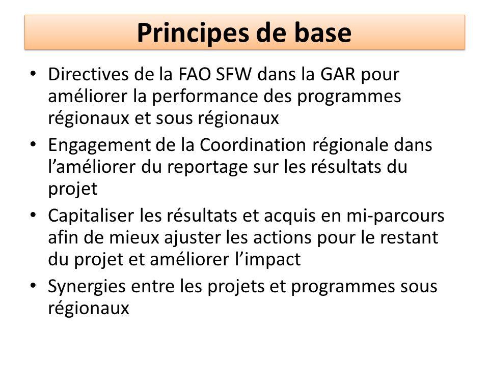 Principes de base Directives de la FAO SFW dans la GAR pour améliorer la performance des programmes régionaux et sous régionaux Engagement de la Coord