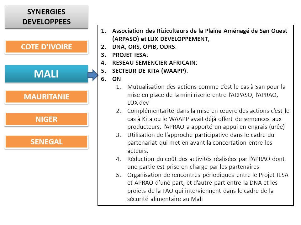 SYNERGIES DEVELOPPEES COTE DIVOIRE MALI MAURITANIE NIGER SENEGAL 1.Association des Riziculteurs de la Plaine Aménagé de San Ouest (ARPASO) et LUX DEVE