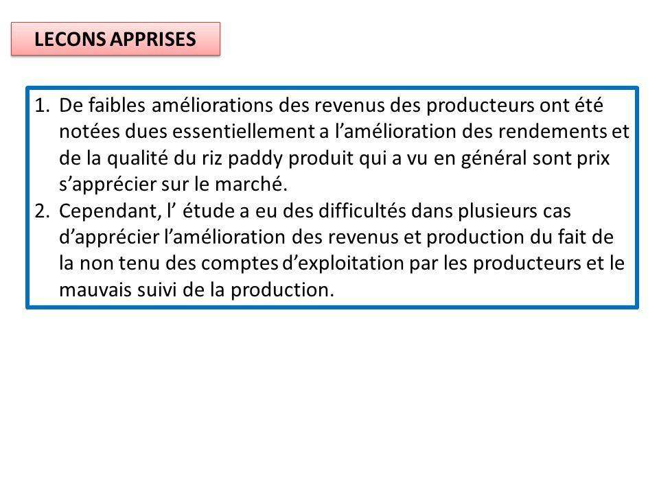 LECONS APPRISES 1.De faibles améliorations des revenus des producteurs ont été notées dues essentiellement a lamélioration des rendements et de la qua