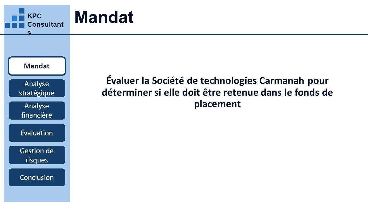 KPC Consultant s Mandat Évaluer la Société de technologies Carmanah pour déterminer si elle doit être retenue dans le fonds de placement Mandat Analyse stratégique Analyse financière Évaluation Gestion de risques Conclusion