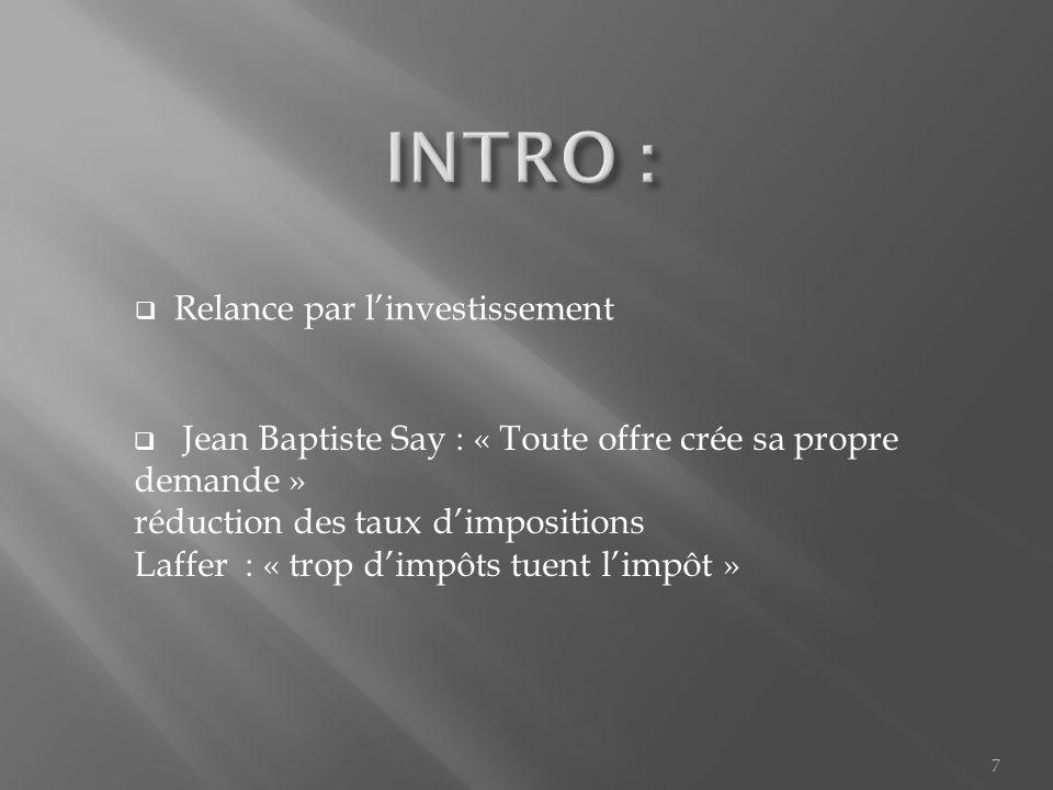 Relance par linvestissement Jean Baptiste Say : « Toute offre crée sa propre demande » réduction des taux dimpositions Laffer : « trop dimpôts tuent limpôt » 7