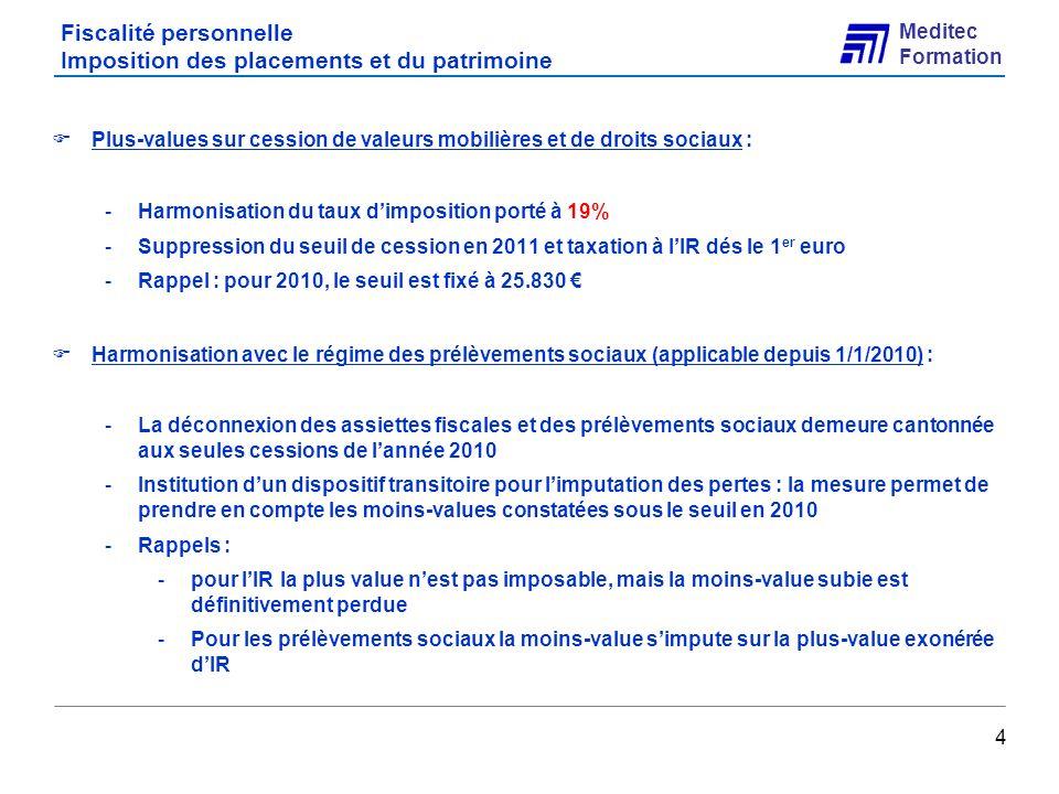 Meditec Formation Fiscalité des entreprises Véhicules de tourisme homologués N1 25 Exemple Une société acquiert un véhicule de tourisme immatriculé dans la catégorie « N1 » le 1er mai 2010, pour un montant de 50 000 TTC.