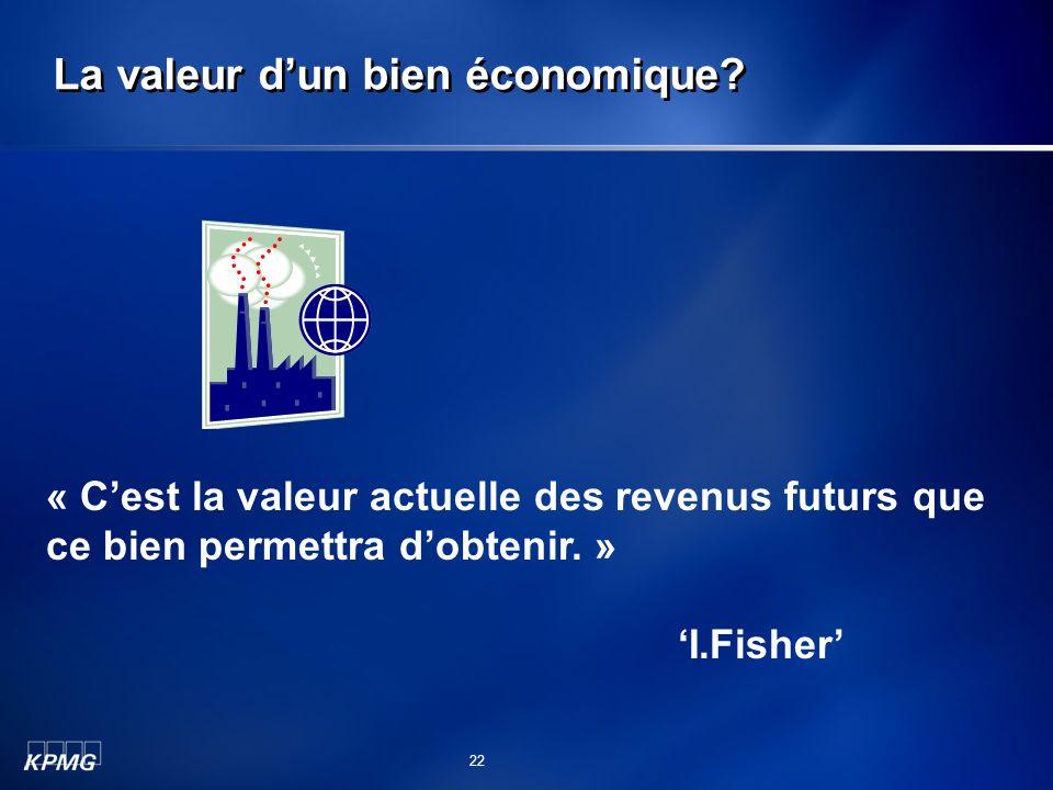 La valeur dun bien économique? « Cest la valeur actuelle des revenus futurs que ce bien permettra dobtenir. » I.Fisher 22