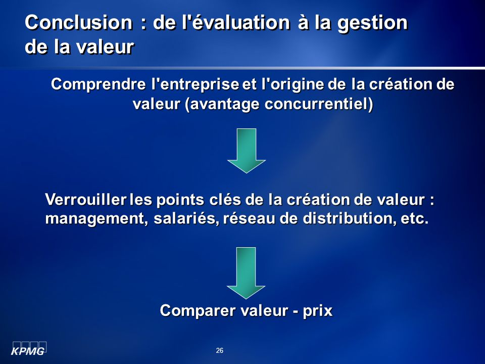 Conclusion : de l'évaluation à la gestion de la valeur Comprendre l'entreprise et l'origine de la création de valeur (avantage concurrentiel) Verrouil