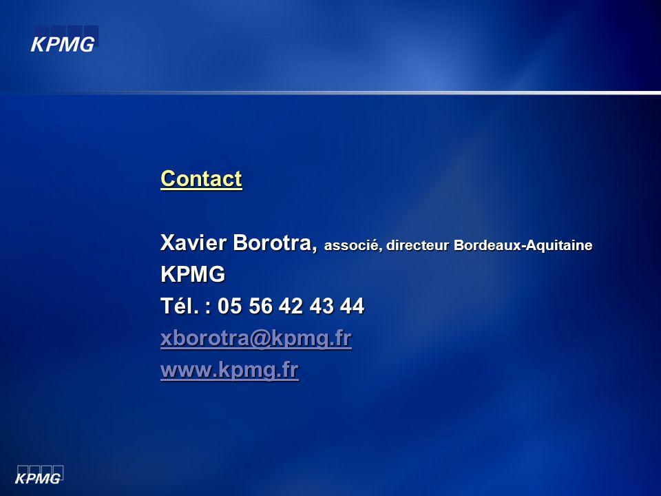 Contact Xavier Borotra, associé, directeur Bordeaux-Aquitaine KPMG Tél. : 05 56 42 43 44 xborotra@kpmg.fr www.kpmg.fr