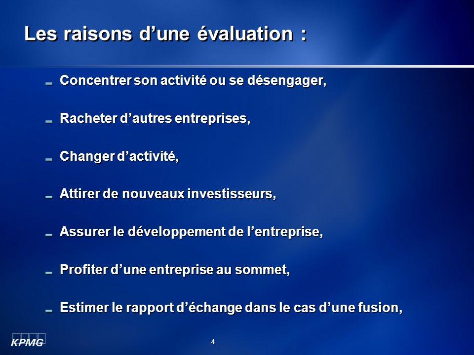 Les raisons dune évaluation : Concentrer son activité ou se désengager, Racheter dautres entreprises, Changer dactivité, Attirer de nouveaux investiss