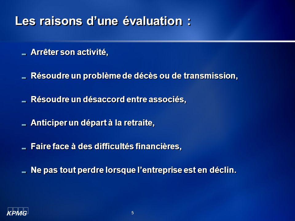 Les raisons dune évaluation : Arrêter son activité, Résoudre un problème de décès ou de transmission, Résoudre un désaccord entre associés, Anticiper