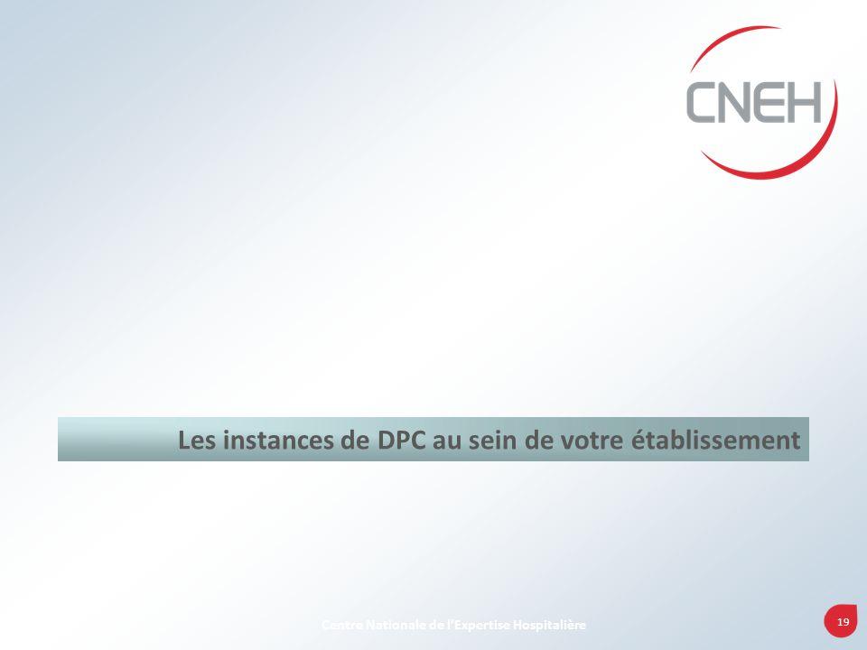 19 Centre Nationale de lExpertise Hospitalière Les instances de DPC au sein de votre établissement
