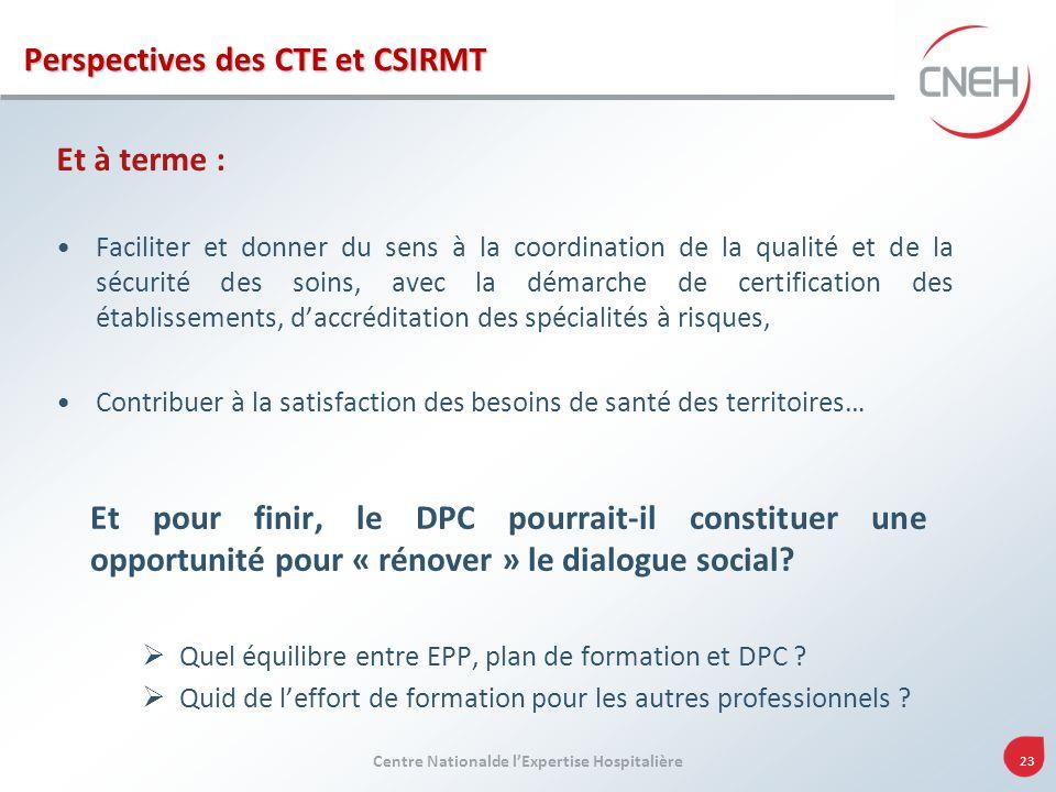 Centre Nationalde lExpertise Hospitalière 23 Perspectives des CTE et CSIRMT Et à terme : Faciliter et donner du sens à la coordination de la qualité e