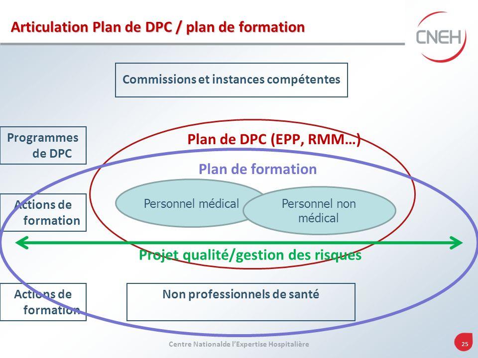 Centre Nationalde lExpertise Hospitalière 25 Commissions et instances compétentes Plan de DPC (EPP, RMM…) Programmes de DPC Actions de formation Non p