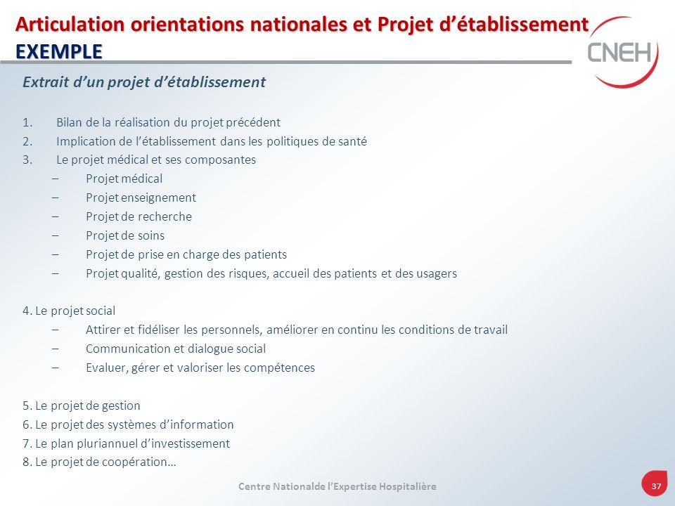 Centre Nationalde lExpertise Hospitalière 37 Articulation orientations nationales et Projet détablissement EXEMPLE Extrait dun projet détablissement 1