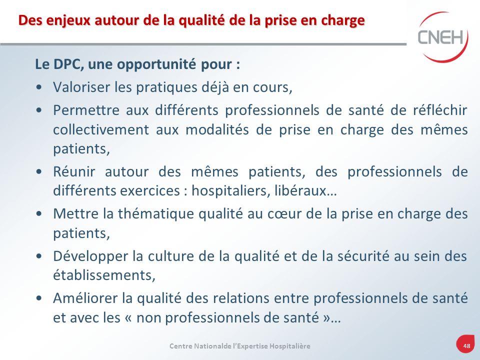 Centre Nationalde lExpertise Hospitalière 48 Des enjeux autour de la qualité de la prise en charge Le DPC, une opportunité pour : Valoriser les pratiq