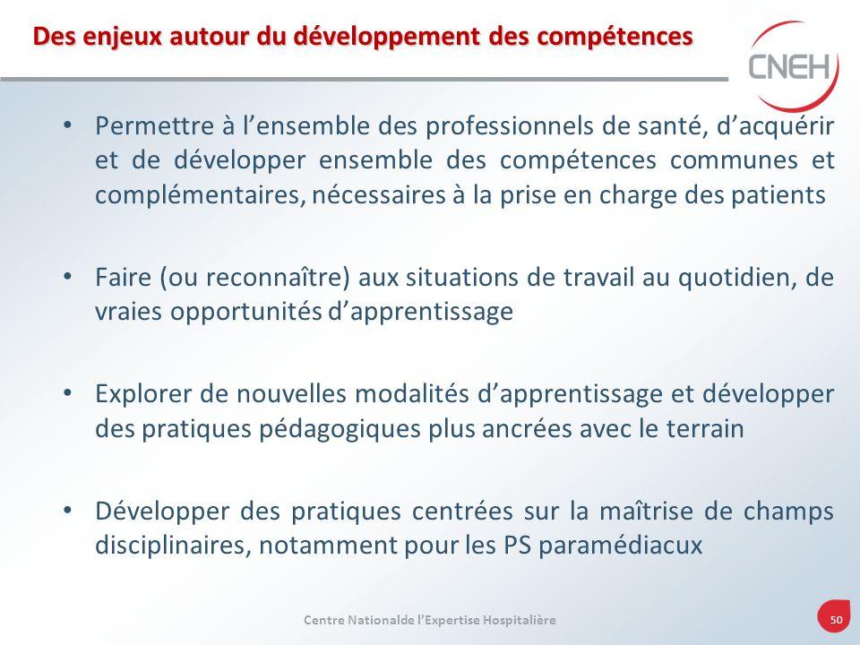 Centre Nationalde lExpertise Hospitalière 50 Des enjeux autour du développement des compétences Permettre à lensemble des professionnels de santé, dac