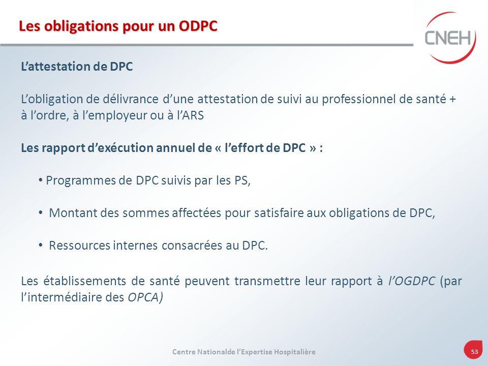 Centre Nationalde lExpertise Hospitalière 53 Les obligations pour un ODPC Lattestation de DPC Lobligation de délivrance dune attestation de suivi au p
