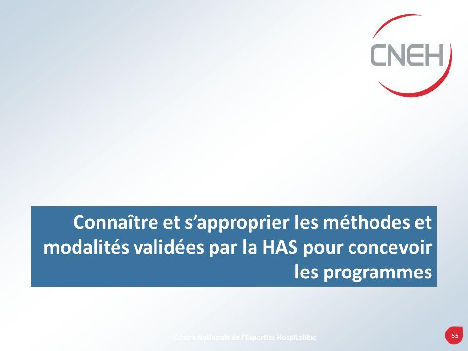 55 Centre Nationale de lExpertise Hospitalière Connaître et sapproprier les méthodes et modalités validées par la HAS pour concevoir les programmes