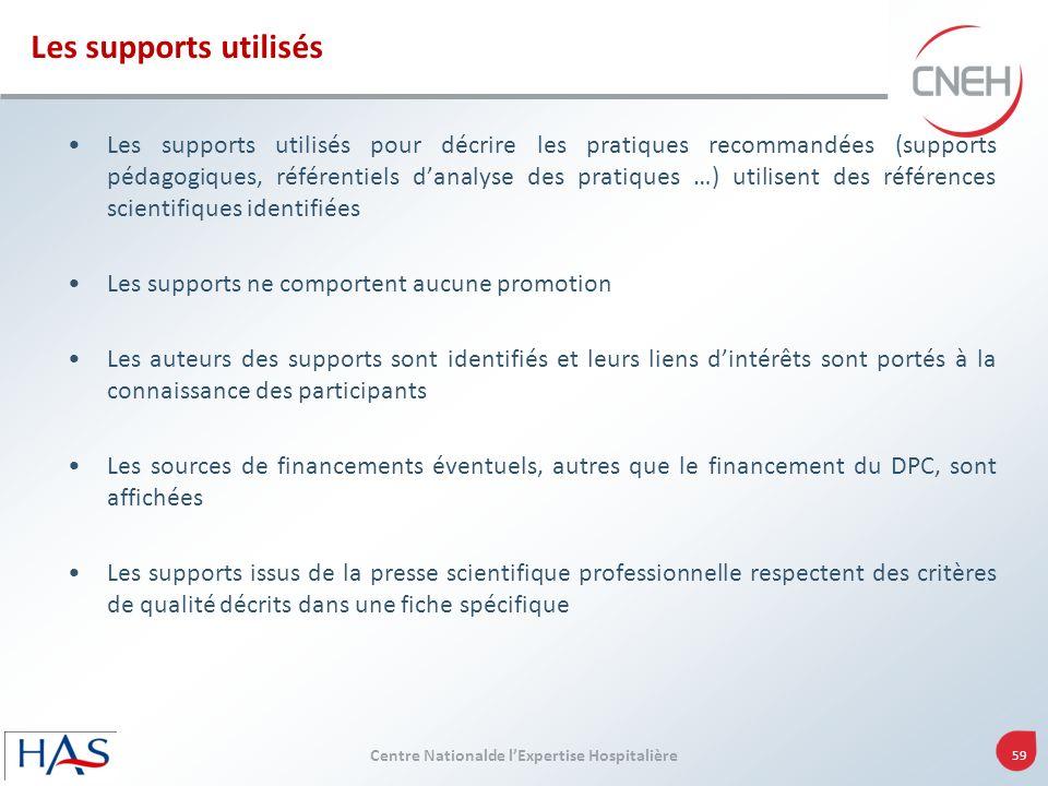 Centre Nationalde lExpertise Hospitalière 59 Les supports utilisés pour décrire les pratiques recommandées (supports pédagogiques, référentiels danaly