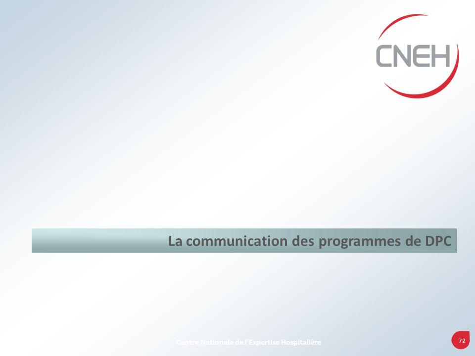 72 Centre Nationale de lExpertise Hospitalière La communication des programmes de DPC