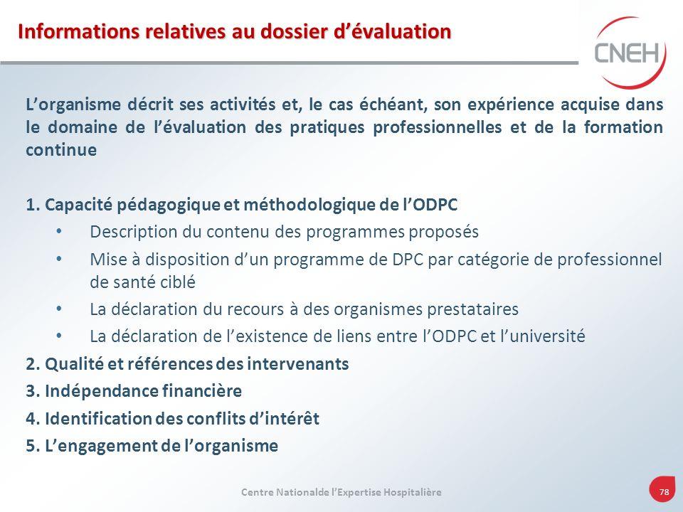 Centre Nationalde lExpertise Hospitalière 78 Informations relatives au dossier dévaluation Lorganisme décrit ses activités et, le cas échéant, son exp