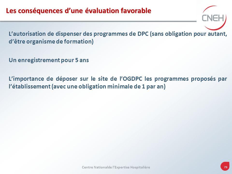 Centre Nationalde lExpertise Hospitalière 79 Les conséquences dune évaluation favorable Lautorisation de dispenser des programmes de DPC (sans obligat