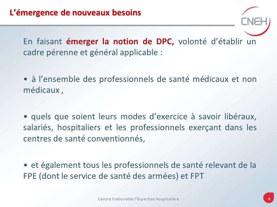Centre Nationalde lExpertise Hospitalière 8 Lémergence de nouveaux besoins En faisant émerger la notion de DPC, volonté détablir un cadre pérenne et g