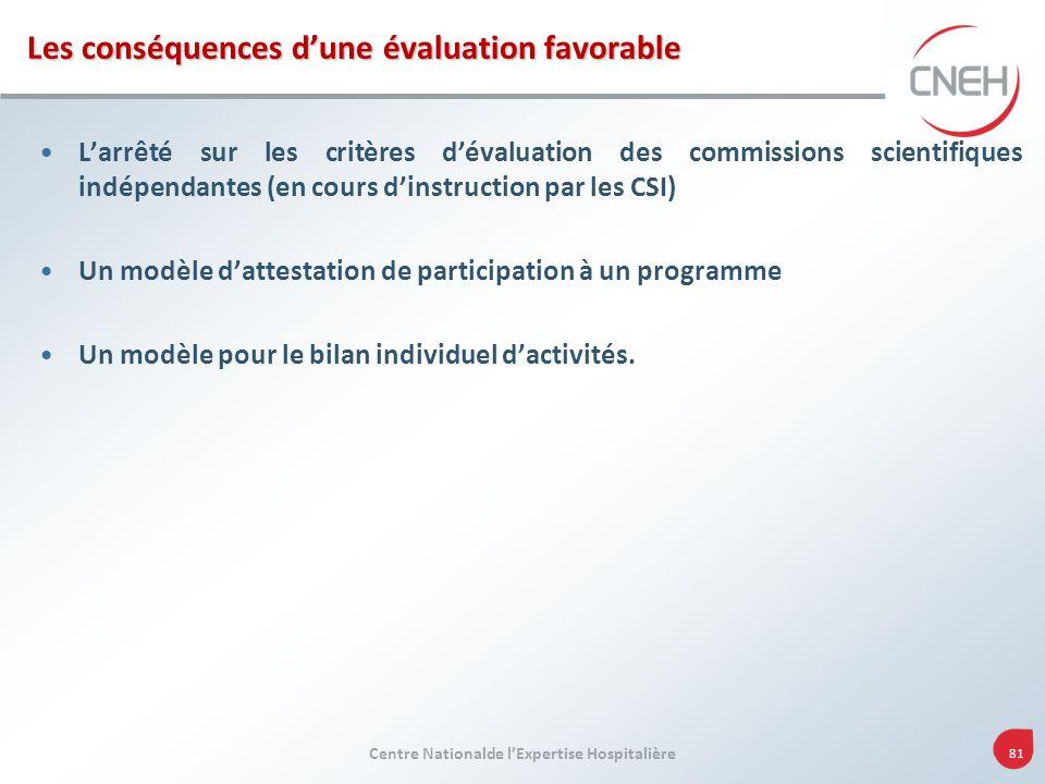 Centre Nationalde lExpertise Hospitalière 81 Les conséquences dune évaluation favorable Larrêté sur les critères dévaluation des commissions scientifi