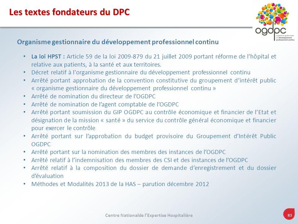 Centre Nationalde lExpertise Hospitalière 83 Les textes fondateurs du DPC Organisme gestionnaire du développement professionnel continu La loi HPST :