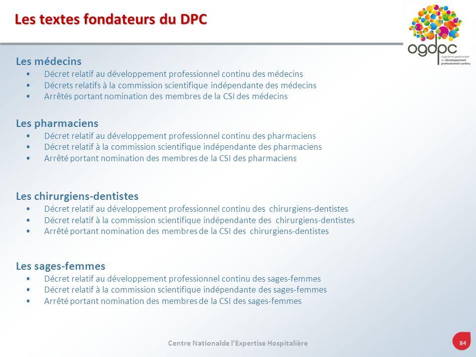 Centre Nationalde lExpertise Hospitalière 84 Les médecins Décret relatif au développement professionnel continu des médecins Décrets relatifs à la com