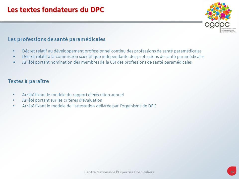 Centre Nationalde lExpertise Hospitalière 85 Les professions de santé paramédicales Décret relatif au développement professionnel continu des professi