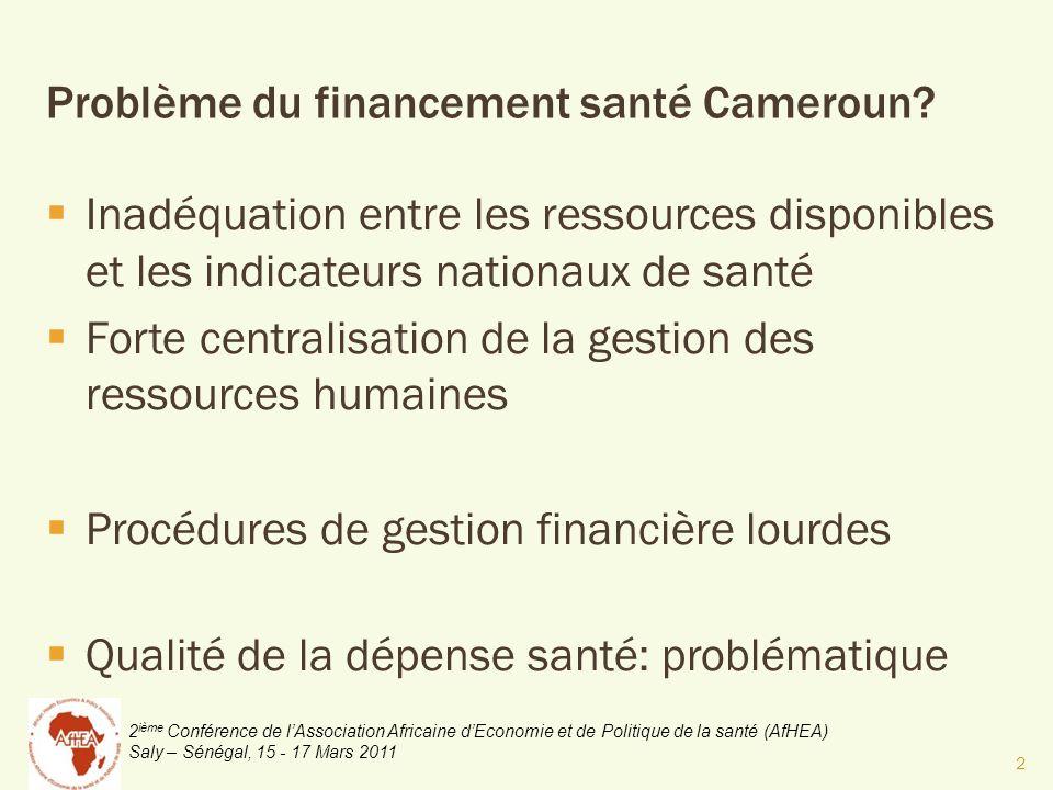 2 ième Conférence de lAssociation Africaine dEconomie et de Politique de la santé (AfHEA) Saly – Sénégal, 15 - 17 Mars 2011 Problème du financement santé Cameroun.