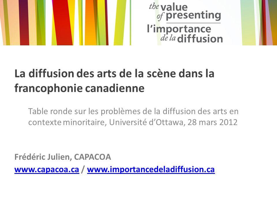 À propos de létude Limportance de la diffusion : une étude sur la diffusion des arts au Canada – Enquête qualitative pancanadienne entreprise par CAPACOA et le réseaux de diffusion canadiens en mai 2011.