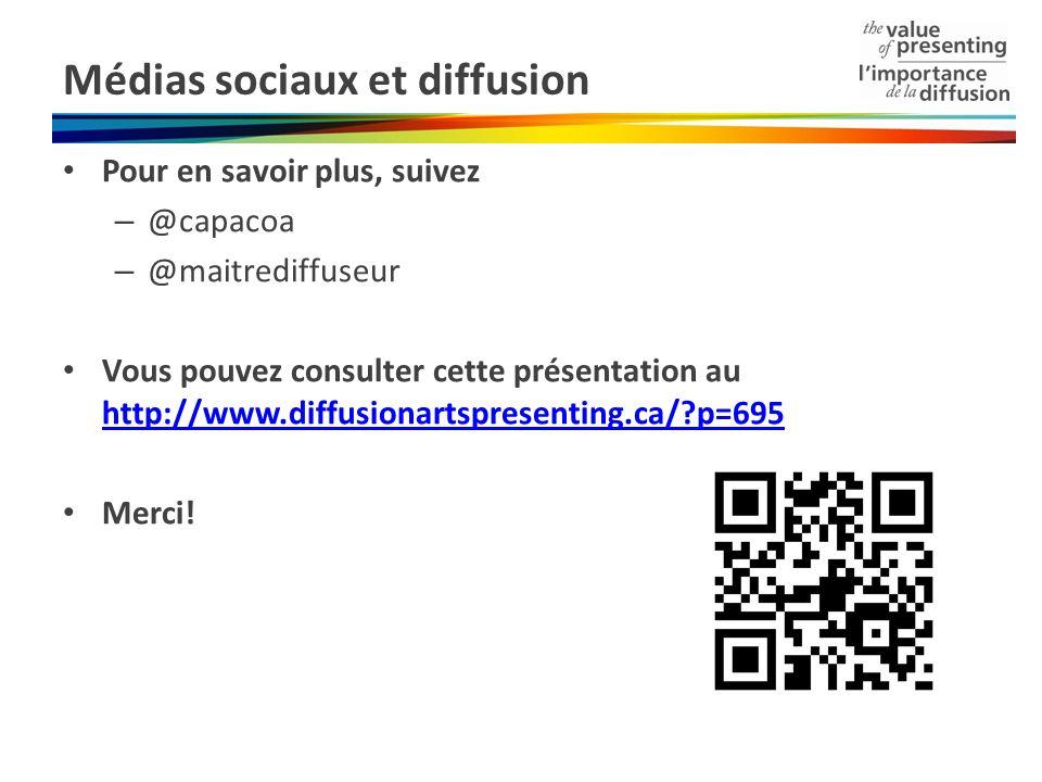 Médias sociaux et diffusion Pour en savoir plus, suivez – @capacoa – @maitrediffuseur Vous pouvez consulter cette présentation au http://www.diffusionartspresenting.ca/ p=695 http://www.diffusionartspresenting.ca/ p=695 Merci!