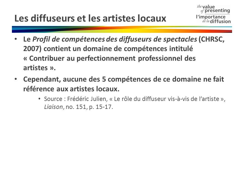 Les diffuseurs et les artistes locaux Le Profil de compétences des diffuseurs de spectacles (CHRSC, 2007) contient un domaine de compétences intitulé « Contribuer au perfectionnement professionnel des artistes ».