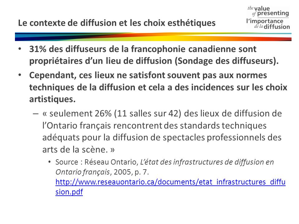 Le contexte de diffusion et les choix esthétiques 31% des diffuseurs de la francophonie canadienne sont propriétaires dun lieu de diffusion (Sondage des diffuseurs).