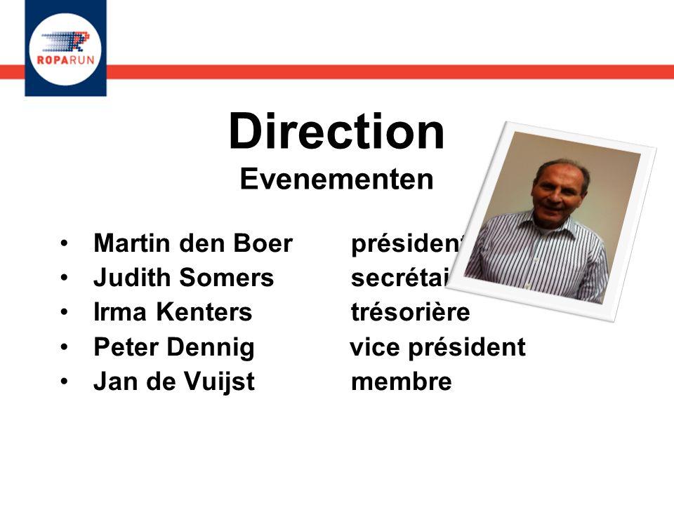 Direction Evenementen Martin den Boer président Judith Somers secrétaire Irma Kenters trésorière Peter Dennig vice président Jan de Vuijst membre Mart