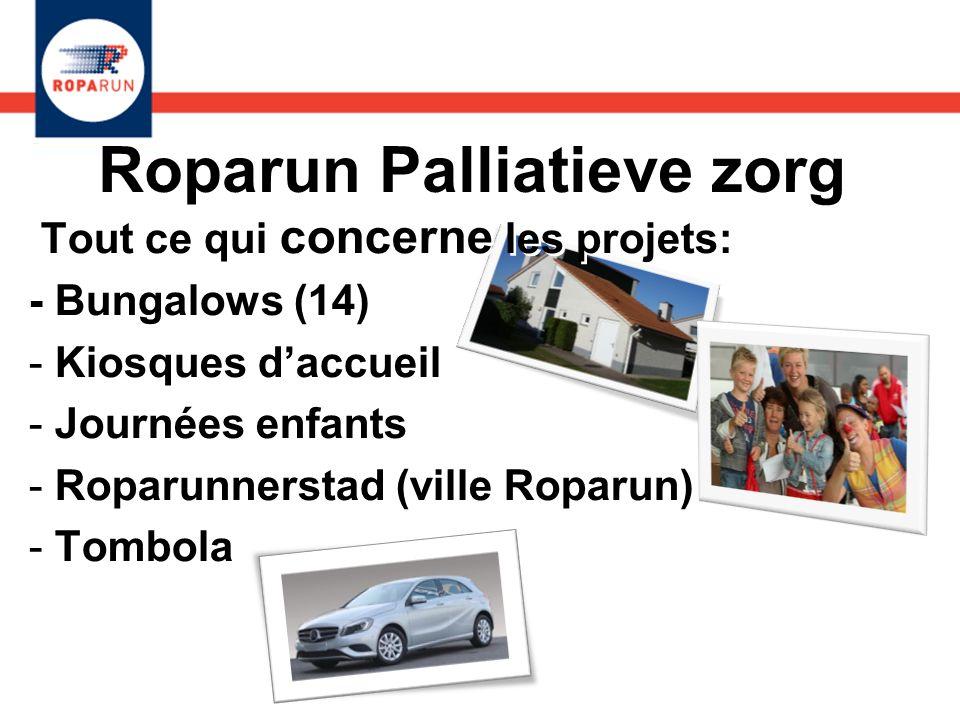 Roparun Palliatieve zorg Tout ce qui concerne les projets: - Bungalows (14) - Kiosques daccueil - Journées enfants - Roparunnerstad (ville Roparun) -