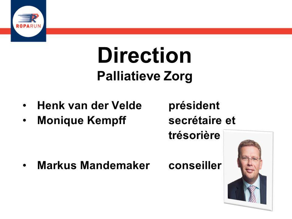 Direction Palliatieve Zorg Henk van der Velde président Monique Kempff secrétaire et trésorière Markus Mandemaker conseiller Henk van der Velde présid