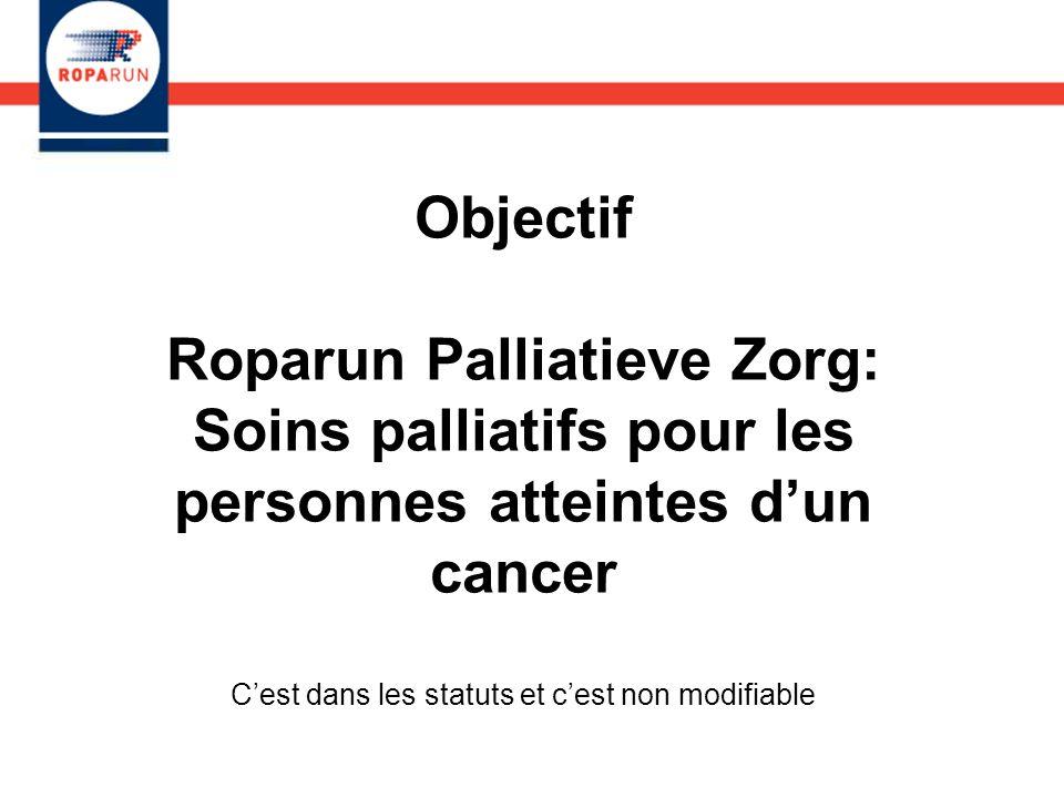 Objectif Roparun Palliatieve Zorg: Soins palliatifs pour les personnes atteintes dun cancer Cest dans les statuts et cest non modifiable