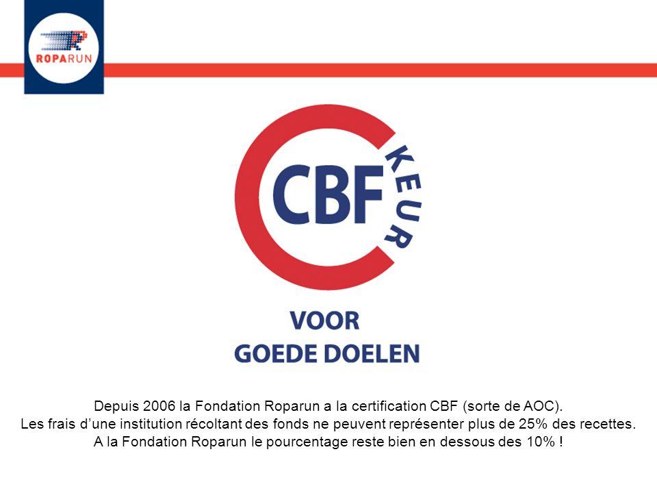 Depuis 2006 la Fondation Roparun a la certification CBF (sorte de AOC). Les frais dune institution récoltant des fonds ne peuvent représenter plus de
