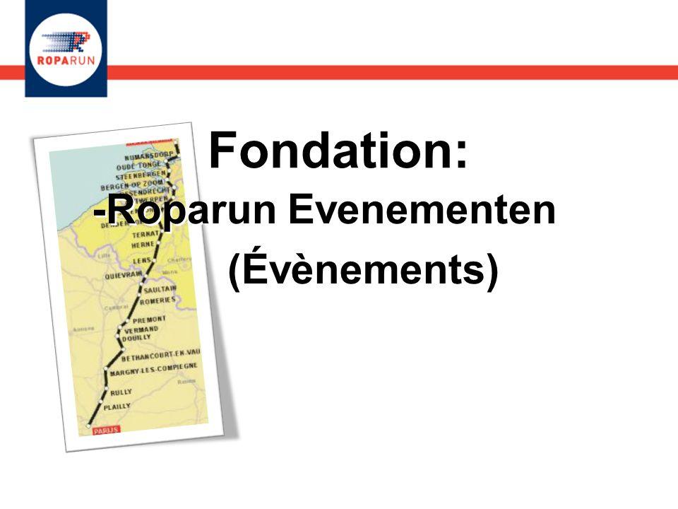 2 Fondations: -Roparun Evenementen -et Roparun Palliatieve Zorg (Soins Palliatifs) -Roparun Evenementen -et Roparun Palliatieve Zorg (Soins Palliatifs)
