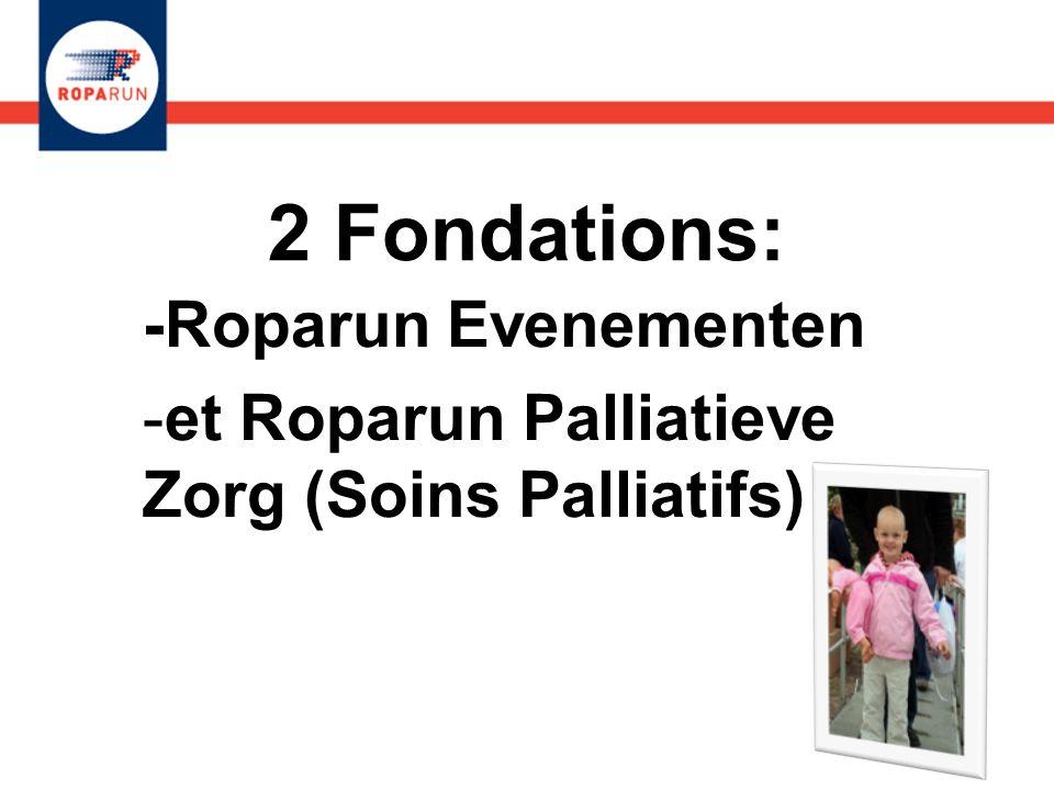 2 Fondations: -Roparun Evenementen -et Roparun Palliatieve Zorg (Soins Palliatifs) -Roparun Evenementen -et Roparun Palliatieve Zorg (Soins Palliatifs